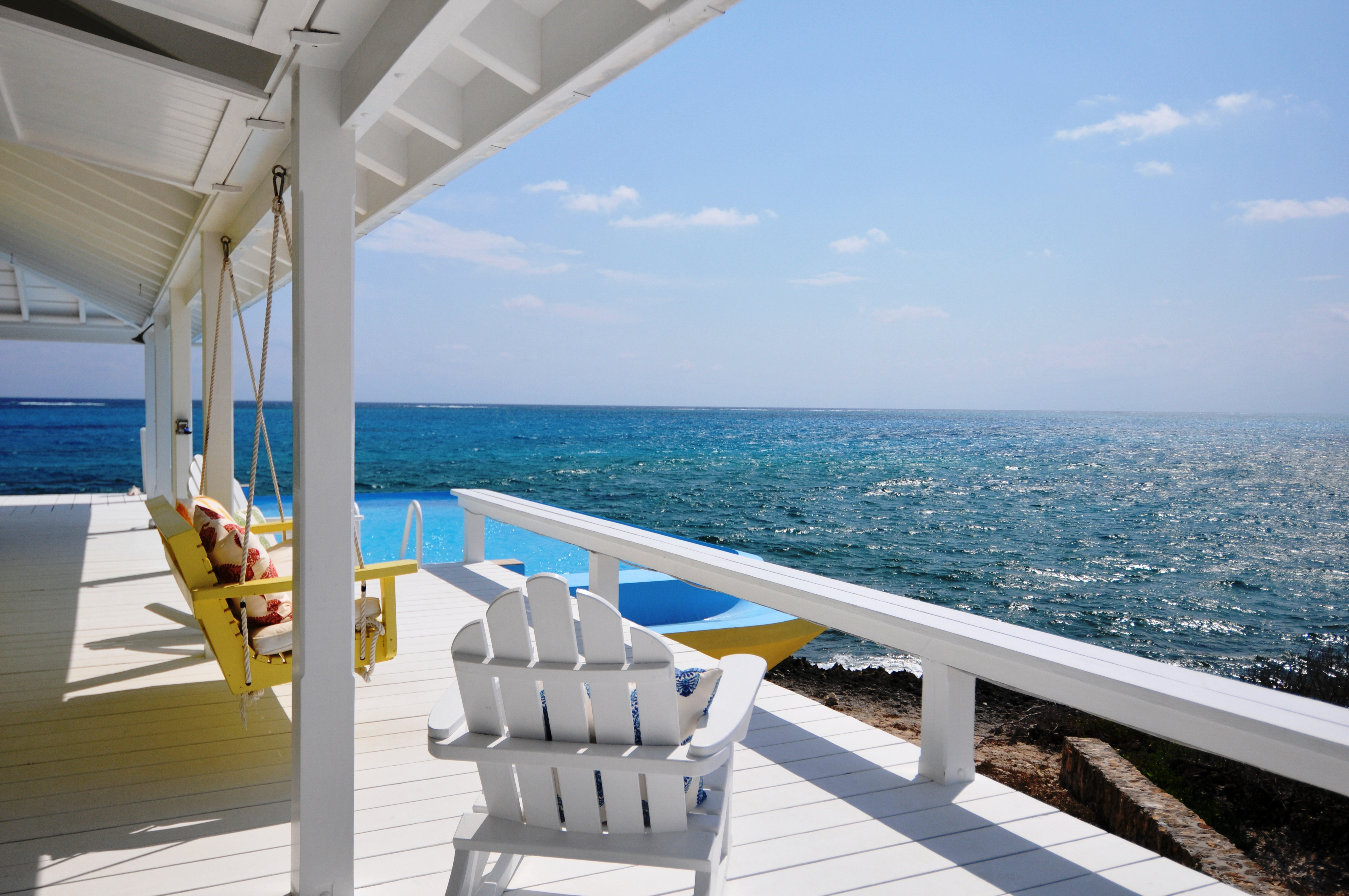 the deck of a boat leaving Man-O-War Cay property on Abaco in the Bahamas
