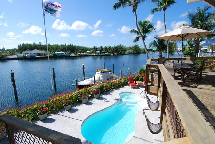 View of salt water pool and canal from deck