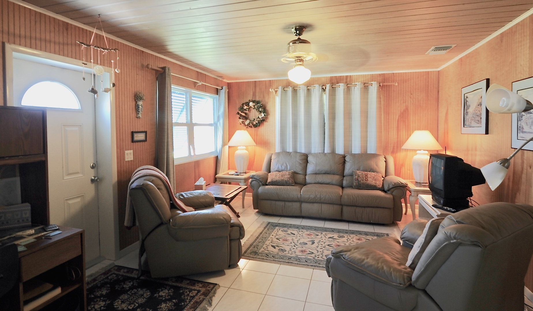 home for sale in man-o-war cay abaco bahamas with v-joint ceilings